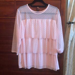 Lane Bryant 18/20 pink polka dot layered blouse